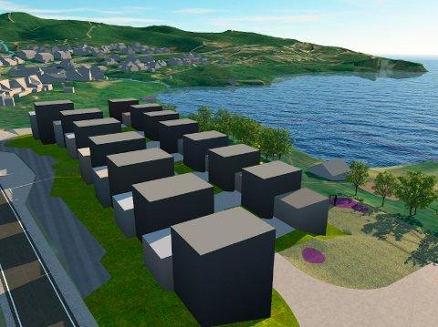 NÆRT SJØEN: Slik ser man for seg boligene i to rekker nedenfor Ringveien og tett på fjæra i Hamna.