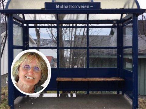 NÅ: Marit Aleksandersen vasket busskuret (Bla for å se før-bildet)