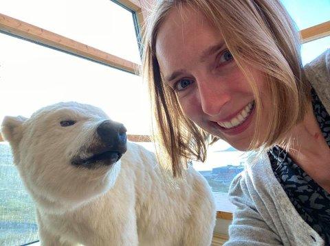 SVALBARD: Næringsminister Iselin Nybø tillater oss å bruke selfien hun tok da hun kom fram til Svalbard tirsdag.