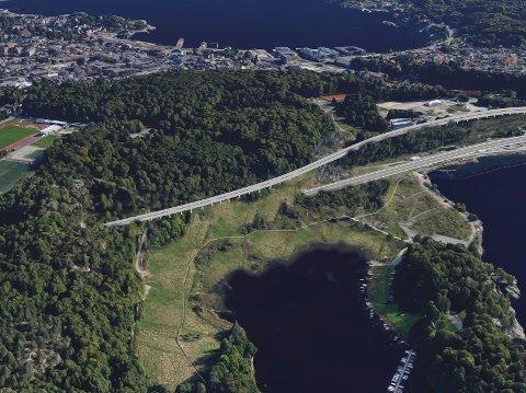 Kilen og Bøkeskogen med dobbeltsporet jernbane vist som foreslått.
