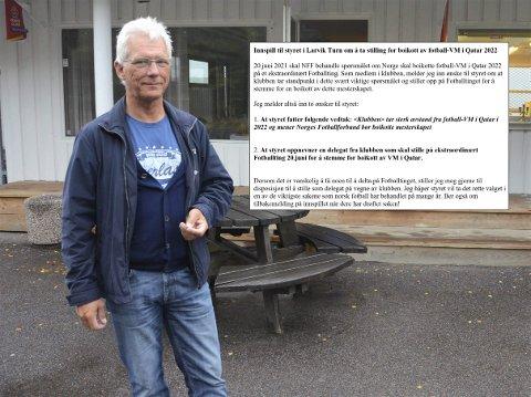 REAGERTE: Geir Anton Haga i Larvik Turn reagerte da denne e-posten dukket opp hos Larvik Turn.