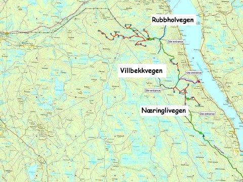 STRIDENS KJERNE: Bruken av Næringlivegen vest for Osensjøen i forbindelse med vindkraftverket var stridens kjerne i saken i Eidsivating lagmannsrett.