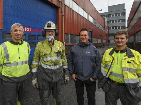 Siden 80-tallet: Konecranes har holdt til i industriparken siden 1980-tallet. Fire av bedriftens sju ansatte er Trond Kristiansen (t.v.), Nils Enger, Service Manager Bjørnar Djønne og Jonar Hansen. Sistnevnte har spesialisert seg på porter.