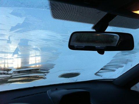 Dette var sikten ut av frontruten på en av bilene politiet stanset i morges.