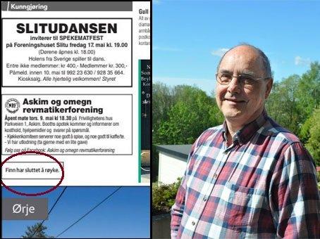 ANNONSERT: Finn Rønn fant annonsen om sin egen røykeslutt i avisen.