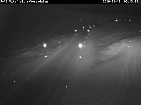 VIKAFJELLET: Slik ser det ut på Vikafjellet måndag morgon. (Skjermdump Statens vegvesen sitt webkamera)