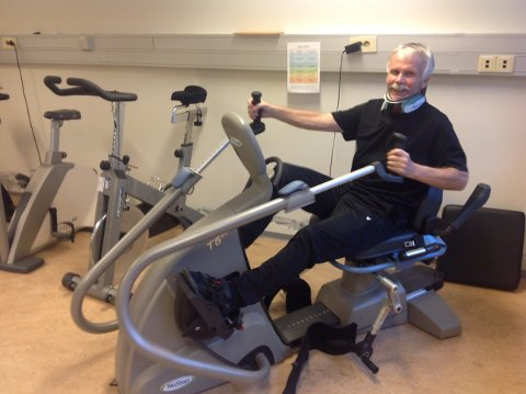SMILET TILBAKE: Jarle Andersen er i gang att med treninga etter ulukka. Han er no på Spinaleininga ved Haukeland universitetssjukehus .