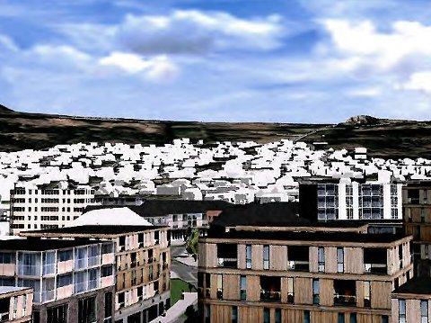 Strand kommune legger opp til en høy urbaniseringsgrad og et tett sentrumsområde. (Illustrasjon fra Strand kommunes sentrumsplan)