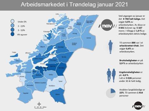 Dette kartet viser andelen ledige i de forskjellige kommunene i Trøndelag.
