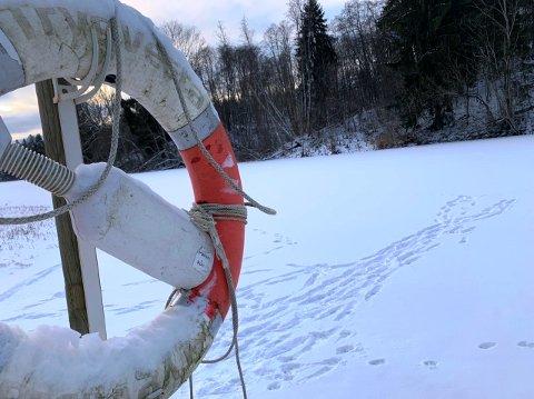 FRISTENDE FARLIG: Det er islagte vann, mange med et lag av snø, over hele Telemark for tida, det er fristende å ta seg en tur på dem, men det er ikke uten fare.