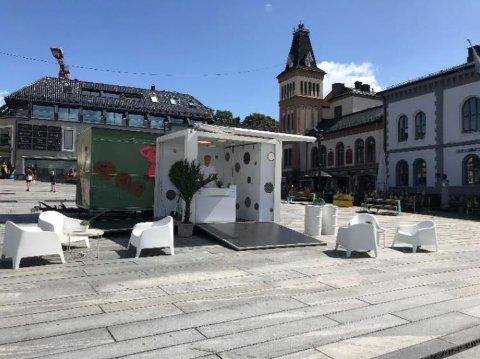 FIKK «NEI»: Concept Communication ville ha en lignende bod som denne på Jahn Teigens Plass i Tønsberg i sommer.