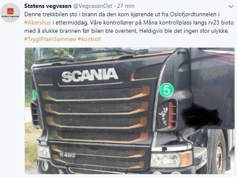 19:11: Da la Statens vegvesen Region Øst ut denne meldingen på Twitter.
