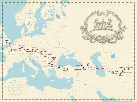 RUTEN: Tobjørn Færøviks rute, fra London til Samarkand.
