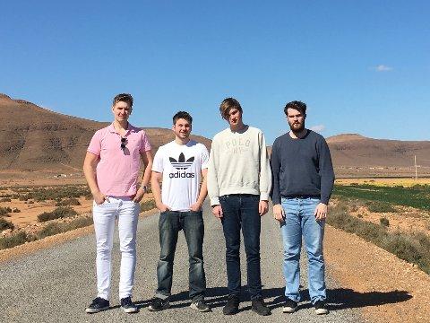 Høyrepolitikere på langtur. Fra venstre: Snorre Sandberg, Daniel Fladvad, Kristian Sveistrup, Rolf-Jonas Ringen Kristiansen.