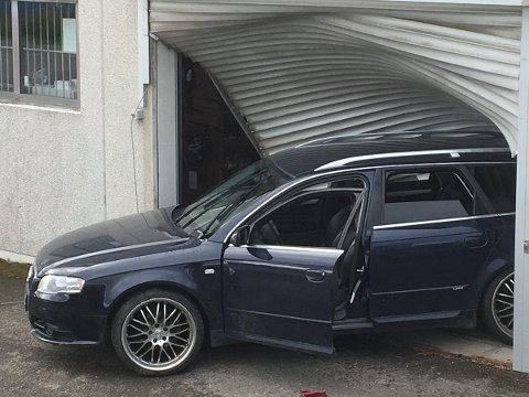 Dal  20170731. Et ukjent antall våpen ble natt til mandag stjålet etter at en bil kjørt inn i våpenforretningen Børselars på Dal i Akershus. Foto: Politiet / NTB scanpix