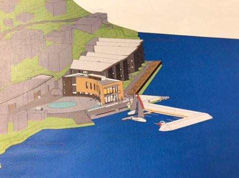 BÅTHAVN: Her er den planlagte båthavna tegnet inn ved Lehmanns brygge. Illustrasjon:Fabel ariktekter