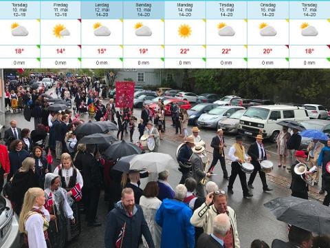 Godværet og den deilige temperaturen vil vare en god stund, men det kan hende vi får noen regndråper på 17.mai. Bildet er fra toget i Drøbak i fjor. Hadde du ikke paraply å gjemme deg under, ble du både våt og kald.