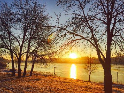I slutten av uka synker temperaturen over Follo mens solen vil endelig vise seg igjen. Dette bildet er fra en vinterdag ved Årungen.