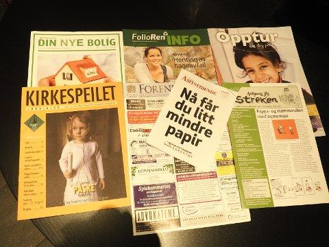 Hefter og brosjyrer fra postkassa en vanlig dag.