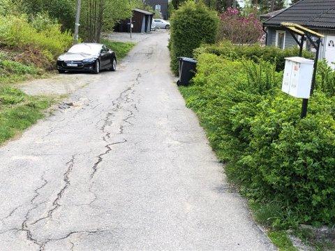 MÅ VENTE: Asfaltbudsjettet i Frogn er oppbrukt, og Utsikten får ikke reparert asfaltskadene før til neste år. FOTO: Ole Jonny Johansen