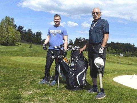 Klare: Mathias Rytterager og Odd Kristiansen er klare til å spille Marksten Invitational til helgen. Foto: J.K. Steine/DGK