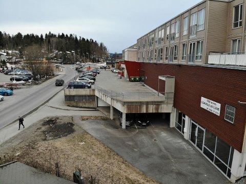 HER: Nederst til høyre ligger lokalet i Portalen som nå skal leies ut. FOTO: Filip Rasmussen.