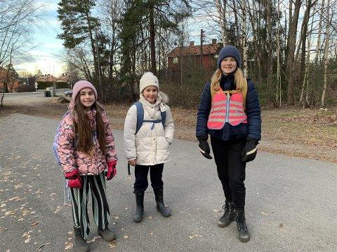 LEI AV FORSØPLING: Aurora, Maiken og Sofie vil ha slutt på forsøpling i nærmiljøet.