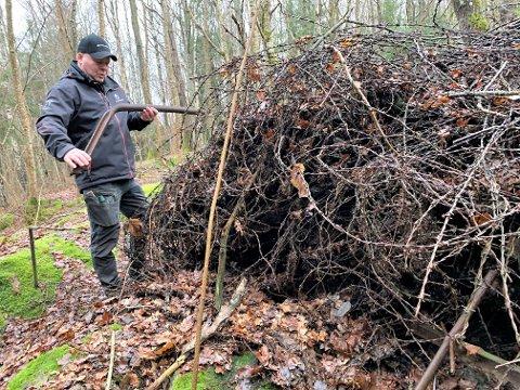 Frode Gjertsen fra Forsvarsbygg skal i første omgang lage en trasé, og så skal piggtråden fjernes fra skogen.