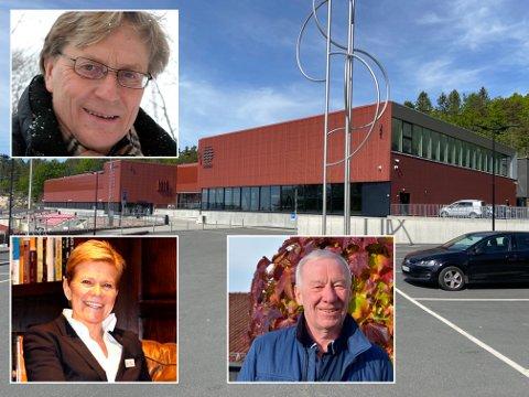 UTFORDRINGER: De nye styremedlemmene hos Bølgen har flere utfordringer å ta tak i framover. Styremedlem Svein Aaser (oppe til venstre) karakteriserer den første tiden for anlegget som en start fra helvete. Ellers på bildet er styremedlem Laila Aarstrand og styreleder Alf Hildrum.