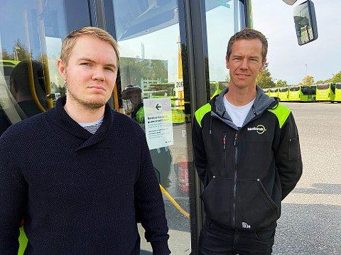 ENIGE:Driftsleder ved NOBINA-anlegget på Nesodden, Torkil Agerup (t.h..) har en god tone med tillitsvalgt i YTF, Victor Høy Ree-Lindstad. FOTO: Ole Jonny Johansen