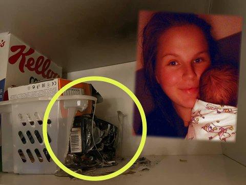SKREMT: Sofie Schjølberg ønsker å advare andre mot å oppbevare batterier løst i huset. Selv oppdaget hun at det hadde tatt fyr i skapet der batteriene lå.