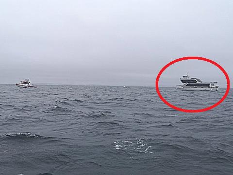 SKOLESKIP: Katamaranen brukes for tiden som skoleskip av Redningsselskapet. Det har vært barn fra både Moss og Fredrikstad om bord denne uken, men det var heldigvis ingen barn om bord, da brannen brøt ut i dag, torsdag.