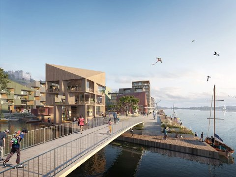 VARIERT: Grønlikaia skal by på leiligheter i ulike størrelser. Her skal det også bli bra for barnefamilier. Foto: Rodeo arkitekter