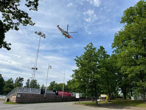 Et Sea King-helikopter landet på Berger fredag.