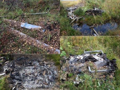 Bilder som viser ulovlig forurensning på to eiendommer og i Stormyra naturreservat i Tynset kommune.