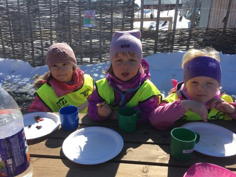 LIKTE PANNEKAKENE: Fra venstre Helma Vårtun, Olava Follstad og Elisabeth Trøan Furuli syntes det var gode pannekaker.