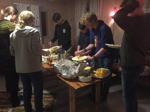 Tacolørdag: På kvelden ble det tacoparty