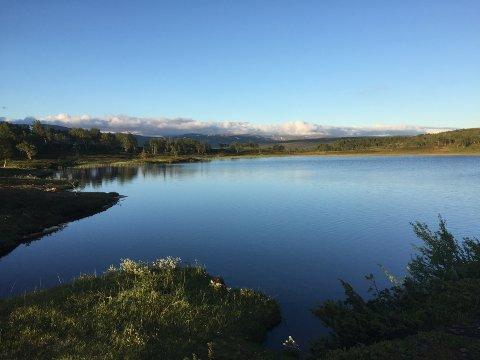 Kjærsåstjønna ligger 758 moh. Her er det fint å raste, fiske, og å bade.