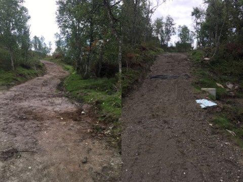 ULOVLIG VEI: Tynset kommune har startet ulovlighetsoppfølging av veibygging i et hyttefelt på Kvikne.