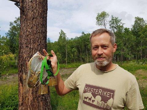 SAUEBONDE: Tomas Lillehagen med bjelleklaver etter sau som ble tatt av bjørnen i Magnilldalen.