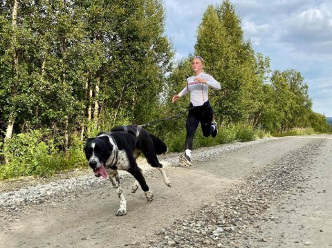Snøreløping med hund er artig. Her er Hanna Thorsen ute og løper med huskyen Halling.