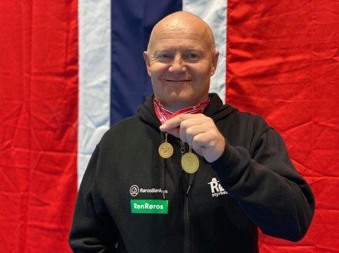 Geir Bedin, med to gull i styrkeløft NM, klassen veteran