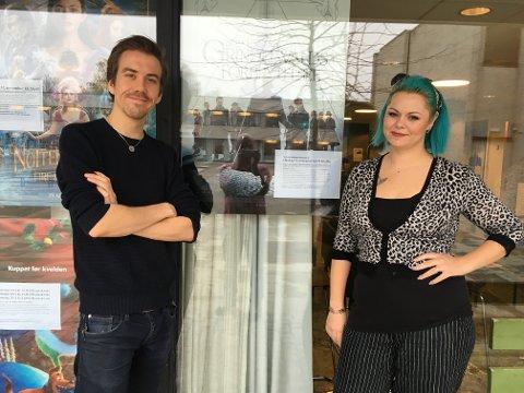 Kinosjef Martin Øsmundset og makeup-artisten Sandra Josefine Moen-Guthe.