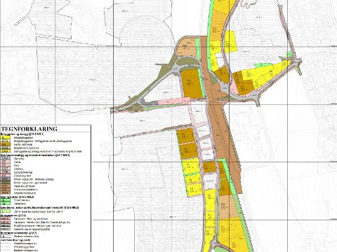 Områdereguleringsplan for Ås sentralområde: Plankart, datert 31.05.2019. Rundkjøringsforslagene er tegnet inn på karet.