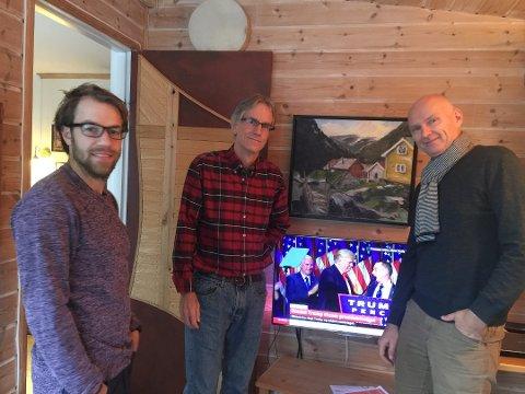KRISEVALG: Amerikanerne på NMBU likte dårlig at Trump vant valget i USA i 2016. På bildet: Jon Michael Moulton, Mike Moulton og Jan Olaf Thormodsæter.