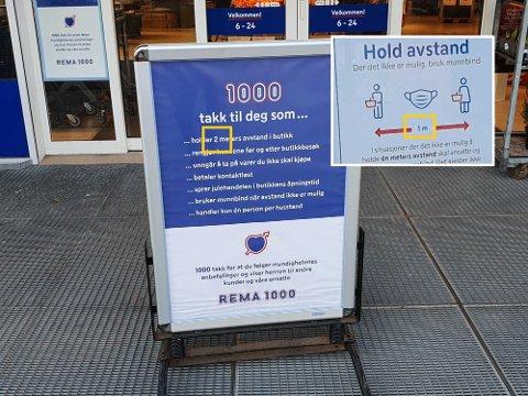 FORVIRRENDE: Hold 2 meters avstand i butikk, men hold en meters avstand. Hvis det ikke er mulig: Bruk munnbind. (Fotomontasje: Anders Lohne Fosse)