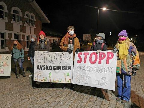 SIER NEI TIL UTBYGGING: Demonstranter protesterte mot planene om å bygge boliger i Vollskogen i Ås.