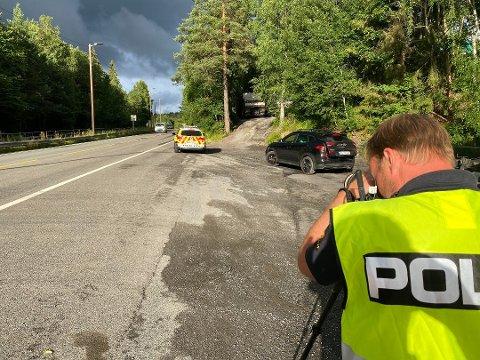 AVSLØRT: Mange ble tatt for å kjøre for fort søndag. Her fra en kontroll på Nesset i midten av juli.
