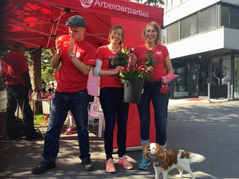 FORRIGE STORTINGSVALG: Steffen Hass, Karin Hjermundrud og Wenche Berg på APs stand i Ås sentrum i august 2017.