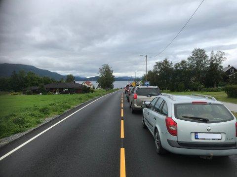 Halvannen kilometer lang kø var det som møtte bilistene ved ferjeleiet på Halsanaustan søndag ettermiddag.